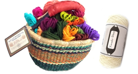 tapestry kit in a basket