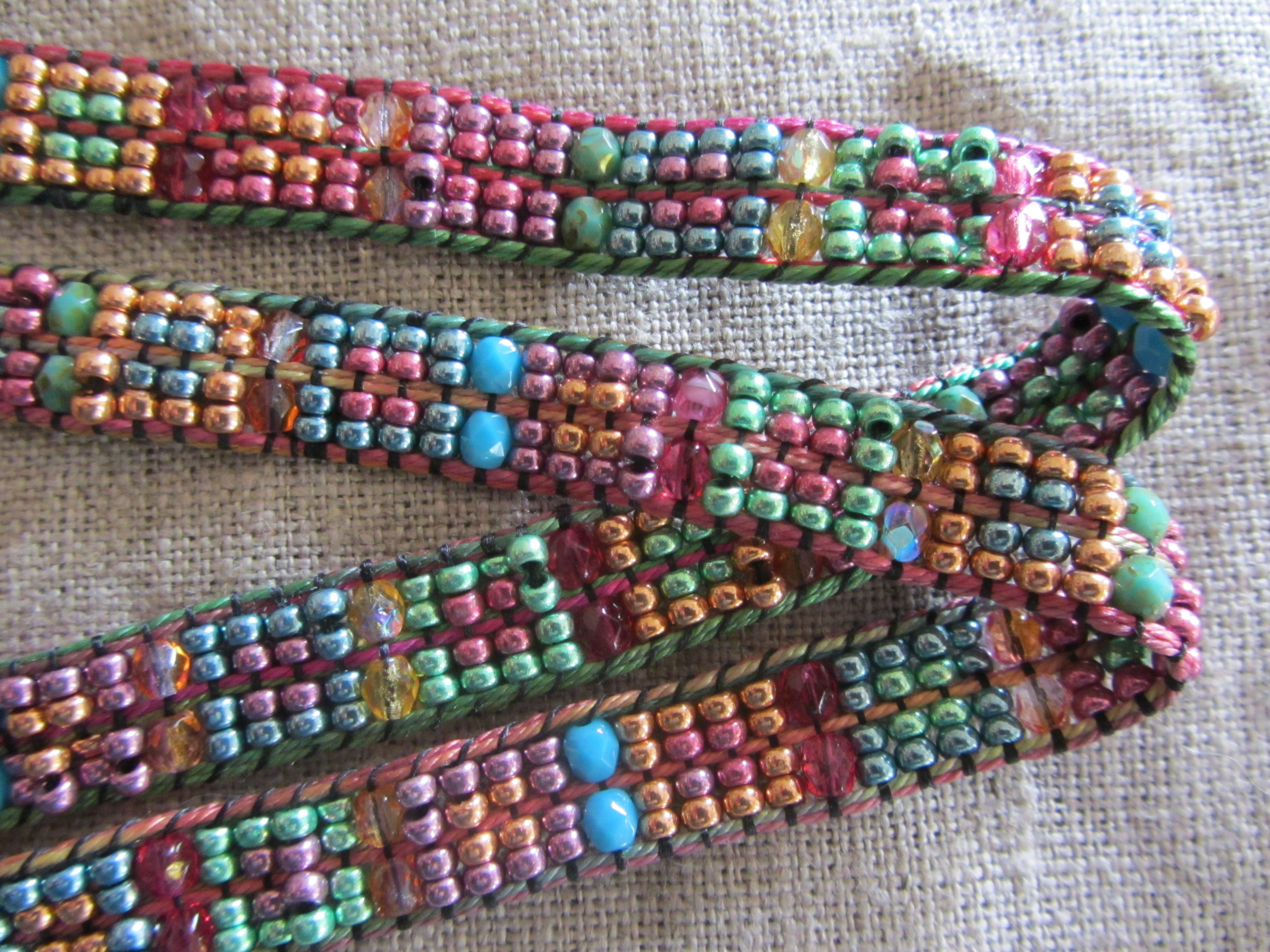confetti and bead necklace weave along week one